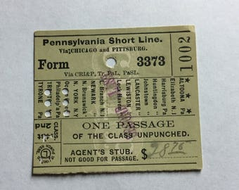 Pennsylvania Shortline Railway Ticket Stub 1897