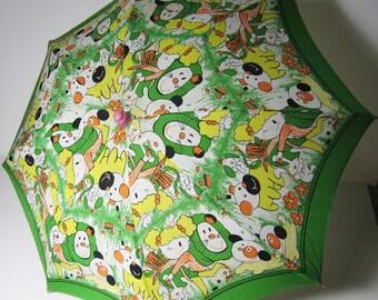 Vintage Cartoon Umbrella Fifties Souvenir Child Parasol Chinese