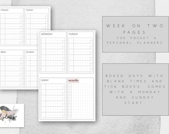 Week on 2 Pages Pink Highlighted Theme Printable for Pocket Planners