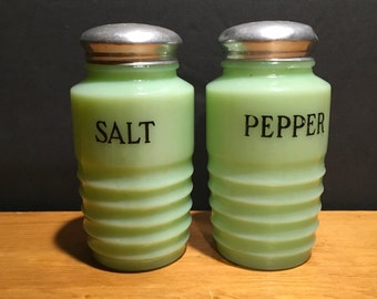 Jadeite Beehive Salt and Pepper Shakers Jeannette Jadite Salt and Pepper Shakers