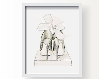 Party Shoes - Fashion Accessories Fine Art Illustration Print, Wall Art Print, Poster Illustration, Art for Home, Office