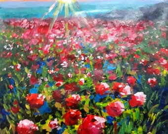 Poppies. Original acrylic on paper 26' x 20'. José Camero