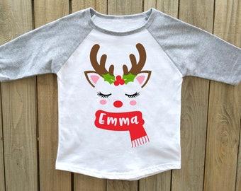 kids christmas shirt, girls christmas shirt, reindeer christmas shirt, personalized Christmas shirt, christmas shirts girls