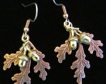 Fall Oak Leaves & Acorns Earrings Copper and 24 Karat Gold Plate Autumn Leaf Gift Holiday Thanksgiving EC027B
