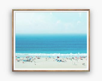 Beach photography, People on Beach print, seaside photo, ocean print, blue sea photo, modern abstract, beach wall art, instant download