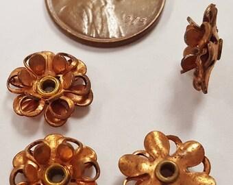 12 Vintage Filigree Flower 12mm. Copper Coated Steel Bead Findings N130