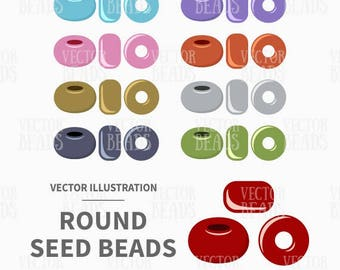 Clip Art Pack of Round Seed Beads - Digital Beads - Instant Download