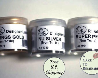 luster dust silver, gold and pearl group for cake decorating and gumpaste Ships free to U.S. Powdered color, petal dust for gumpaste flowers