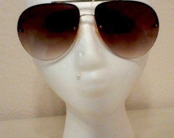 Vintage Rimless Aviators in Amber tinted lens made in  Taiwan R.O.C.