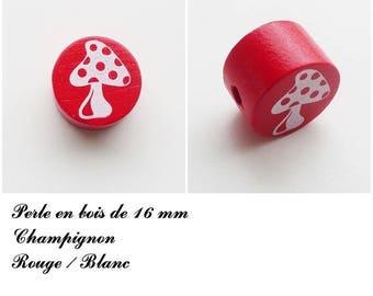 Wooden bead of 16 mm, flat, mushroom bead: red / white