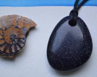 Large Drilled Blue Goldstone Pendant