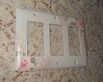 Shabby Cottage Chic Hand Painted Pale Rose Double Triple Rocker Light Switch Cover