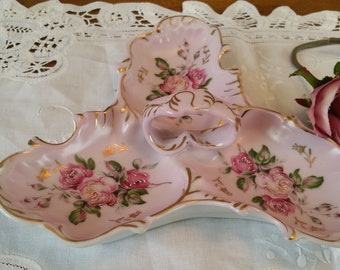 Vintage Lipper & Mann Creations, Hand Painted, 3 Sectional Porcelain Dish, Pink Roses, Gold Trim, Made in Japan, 1950's, candy dish, dresser