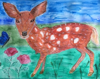 Original One Off Watercolour of Fawn and Butterfly
