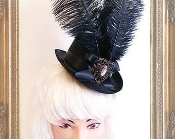 Steampunk  Lady Tophat (Goth, topper, steampunk, black, headpiece )