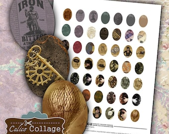 Steampunk Digital Collage Sheet 18x25mm Oval Images for Pendants Earrings Cameos Jewelry Supplies Vintage Printable Calico Collage Art