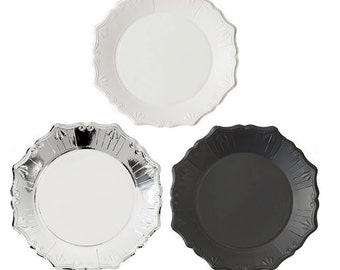 Black Silver White Paper Plates | Party Plate Black and Silver Party 50th Birthday Black and White Party Graduation Party New Years Eve