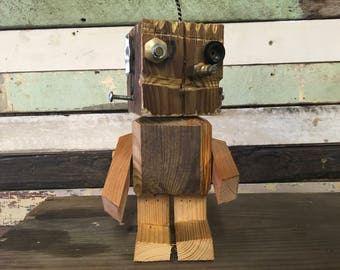 Cute Little Funky Robot Named Woody - Robot Assemblage - Wooden Robot - Handmade Robot