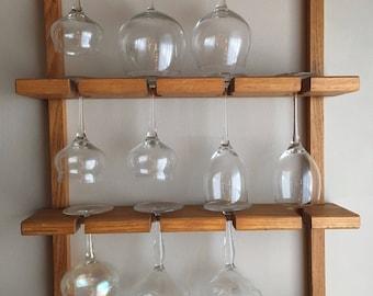 16 glass holder / Oak Wine Glass Rack / Vintage Oak Wine Glass Rack