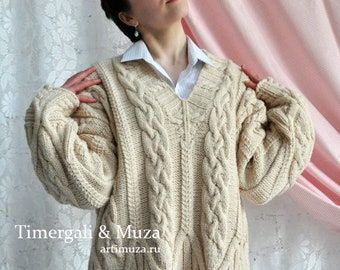 Large Knitted Sweater Soft Wool Cable Pullover V Neck Mens Jumper Womens Knitwear Crochet Oversized Ski Sweater Loose Plus Size Clothing
