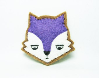 Annoyed purple urban fox felt brooch - tiny size