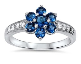 Sterling Silver Sapphire Diamond Studded Band