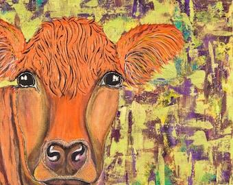 cow art, cow painting, Salers,  original cow painting, original