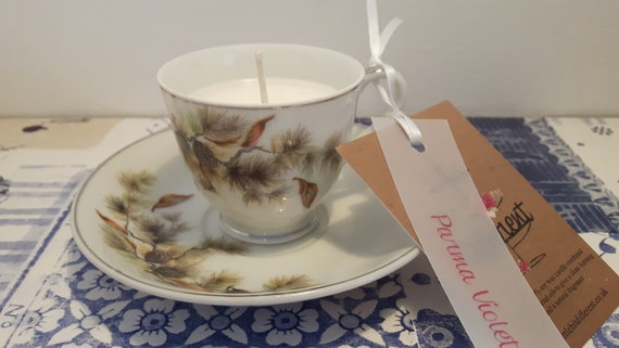 Tea cup candle. Scented soy wax vegan vintage tea cup candle, with parma violet.  Vegan candles. Organic soy. Made in Wales