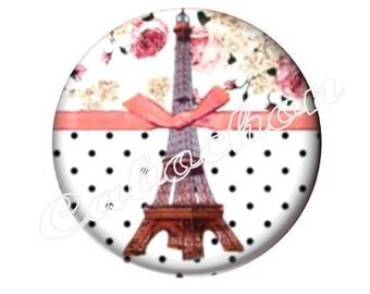 1 cabochon 25mm glass, Paris Eiffel Tower
