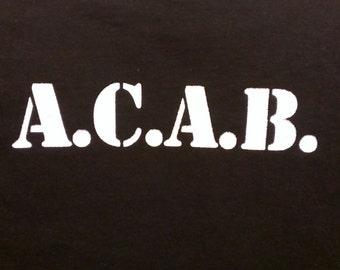 Long Sleeve A.C.A.B. Screen Print T-shirt in Mens or Womens Sizes S-3XL