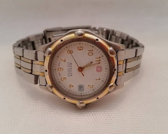 Vintage Wenger Sak Design Women's Watch. Authentic Swiss Army Watch. Two tone Swiss Made Women's Watch. Wenger Brand Wrist Watch
