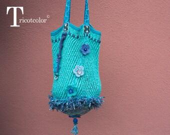 Sac tricoté et crocheté main en coton et laine