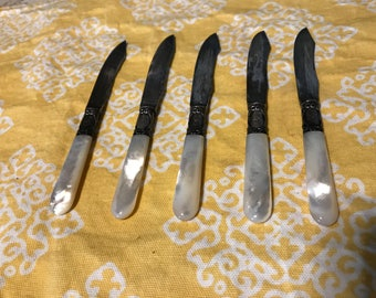 5 Antique Mother of Pearl and Sterling Knives