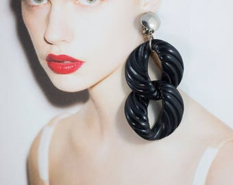 Vintage Black Acrylic Double Drop Earrings (Clip-on)