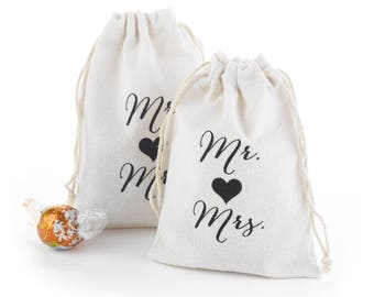 Mr. and Mrs. Cotton Favor Bags - Wedding Favor Bags -  Set of 50 Bags