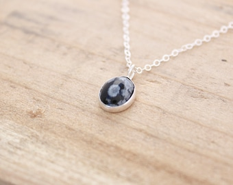 Snowflake Obsidian Necklace.  Sterling silver necklace.