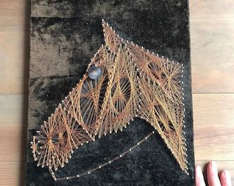 Copper String Art / Copper Horse Head Wall Art / Copper Horse Mid Century String Art Wall Hanging
