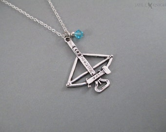 Daryl Dixon Crossbow Necklace - The Walking Dead - Silver Charm