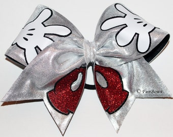 New Design Disney Mickey Hands and Pants Cheer Bow - A Funbows Original