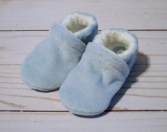 Light Blue : Soft Velour All Fabric Baby Shoes 0-3M Newborn Booties