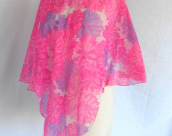 1970s Sheer Blouse Poncho Tunic Pink Purple Flowers Flowing Design