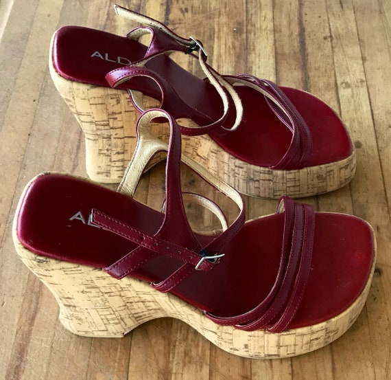 7 90s Fashion Shoes Heel 7 Heel Vintage Wedge 5 Vintage Shoes Red Ladies Shoes Shoes Cork Leather Platform Retro Size Sandal qWcZSZBfH