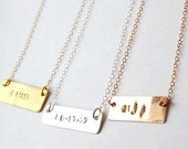 custom name date monogram bar rose gold silver necklace