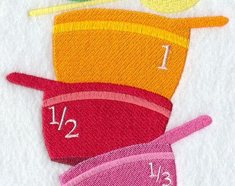 Measuring Cups Stack Embroidered Flour Sack Hand/Dish Towel