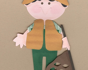 Finished Fisherman or Fisherwoman Die Cuts for Scrapbooking pages