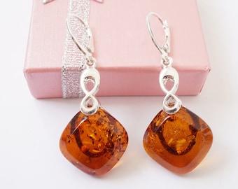Infinity Amber Drop Earrings, Infinity Earrings, Amber Earrings, Baltic Amber Earrings With Certificate, Earrings, Amber Gift For Her