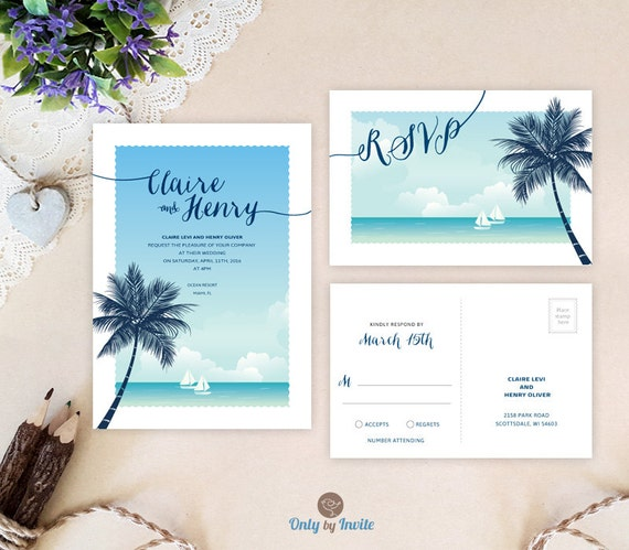 Destination Wedding Invitations With RSVP Printed On White