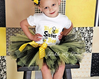 Big Sister to BEE Shirt Only-What Will It Bee Gender Reveal Shirt-Bee Themed Sister Shirt-Big Sister Shirt (Bow and Tutu NOT Included)