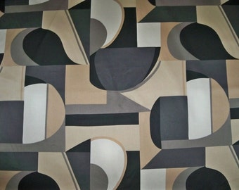 KRAVET Lee Jofa EMPIRE GEOMETRIC Art Deco Fabric 3 Yard Remnant Beige Charcoal Black White