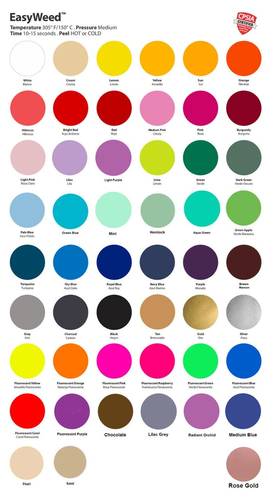 5 Sheets Siser Easyweed Htv Multiple Colors 2 Sizes